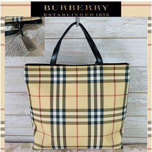 Burberry satchel nova check nylon handbag beige